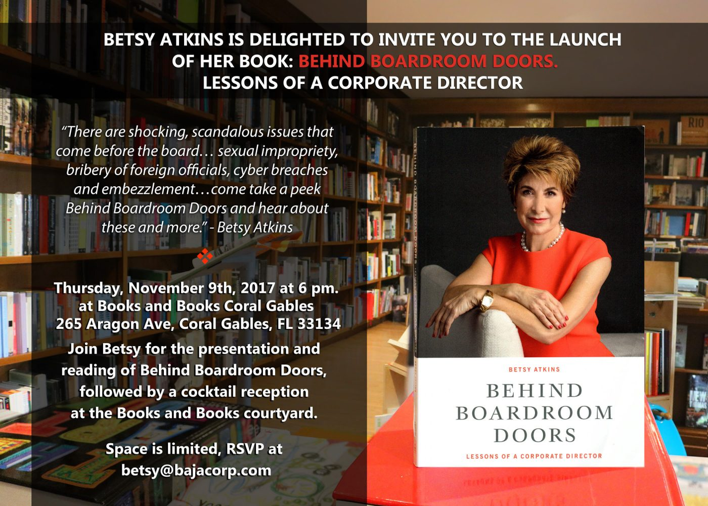 Join Us for my Book Launch – 6 pm Nov 9 Books & Books