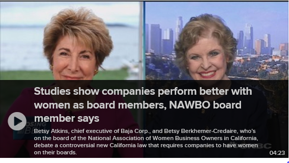 CNBC / Betsy Atkins speaks about CA legislation requiring women on boards