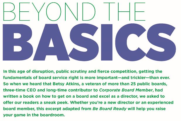 Corporate Board Member Magazine / Be Board Ready Book Excerpt
